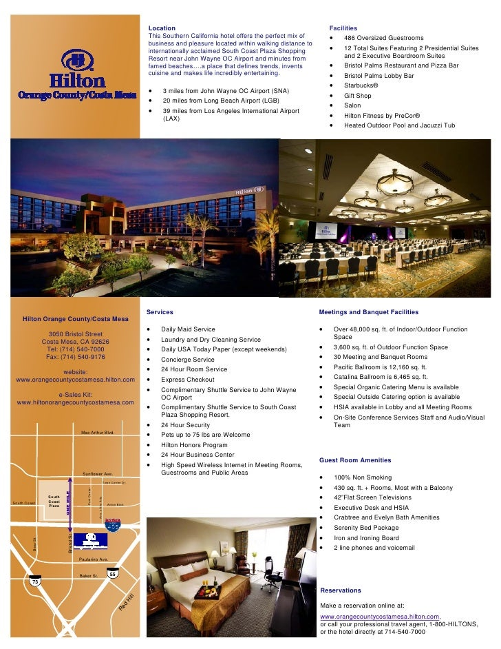 2009 Hilton Orange County Costa Mesa Hotel Fact Sheet