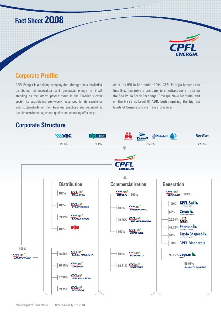 Corporate Profile CPFL Energia is a holding company that, throught its subsidiaries,     After the IPO in September 2004, C...