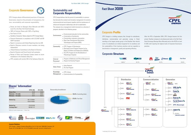 Fact Sheet 3Q08 | CPFL EnergiaCorporate Governance                                                                Sustaina...