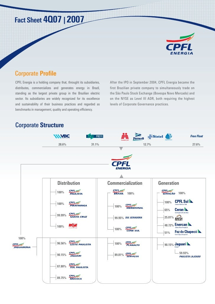 Corporate Profile CPFL Energia is a holding company that, throught its subsidiaries,   After the IPO in September 2004, CPF...