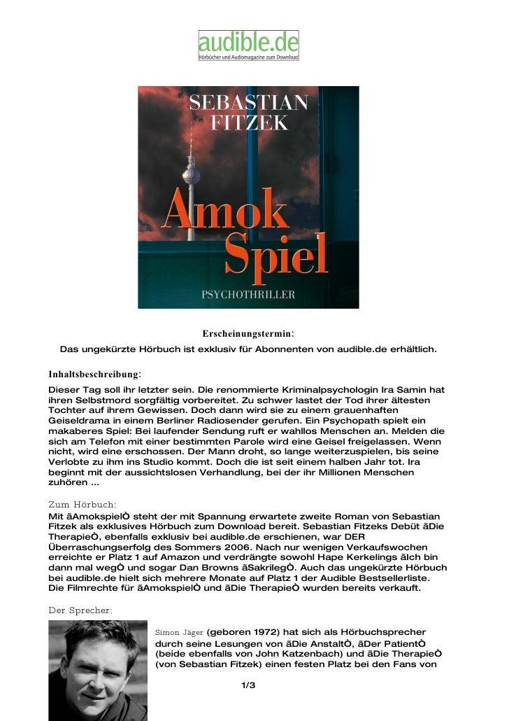 Erscheinungstermin:   Das ungekürzte Hörbuch ist exklusiv für Abonnenten von audible.de erhältlich.  Inhaltsbeschreibung: ...