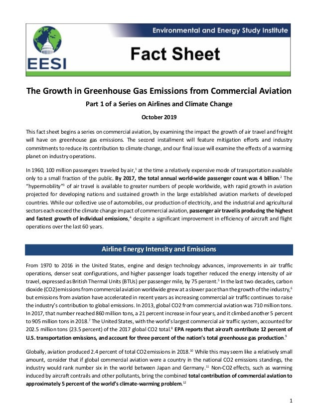 1 The Growth in Greenhouse Gas Emissions from Commercial Aviation Part 1 of a Series on Airlines and Climate Change Octobe...