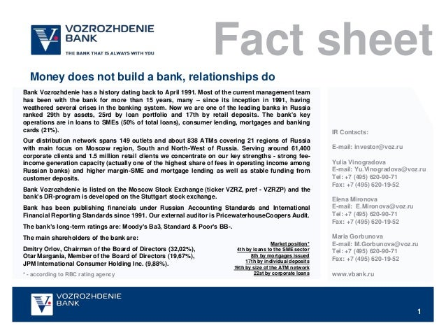 Fact sheet  Money does not build a bank, relationships doBank Vozrozhdenie has a history dating back to April 1991. Most o...