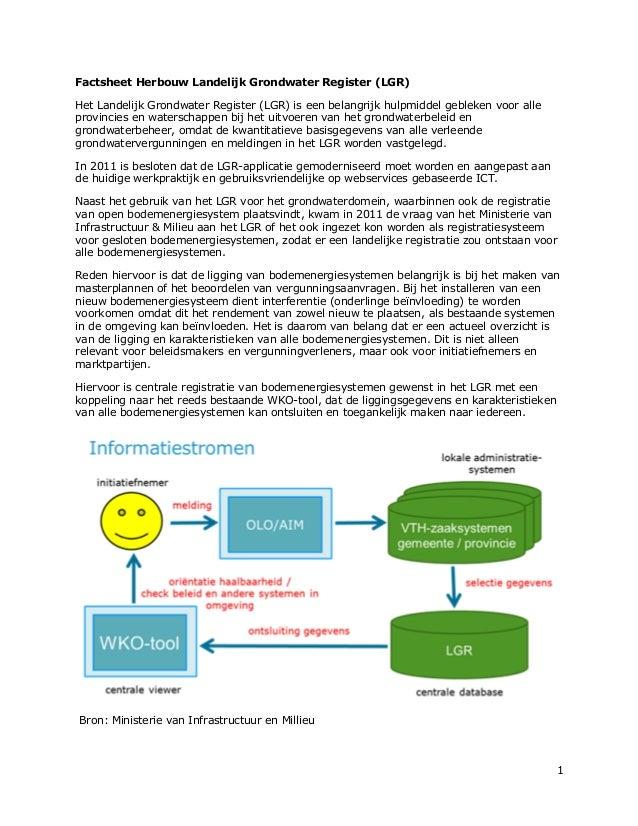 1Factsheet Herbouw Landelijk Grondwater Register (LGR)Het Landelijk Grondwater Register (LGR) is een belangrijk hulpmiddel...