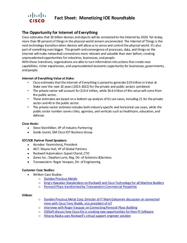 Fact Sheet: Monetizing IOE Roundtable The Opportunity For Internet Of  Everything Cisco Estimates That 50 ...