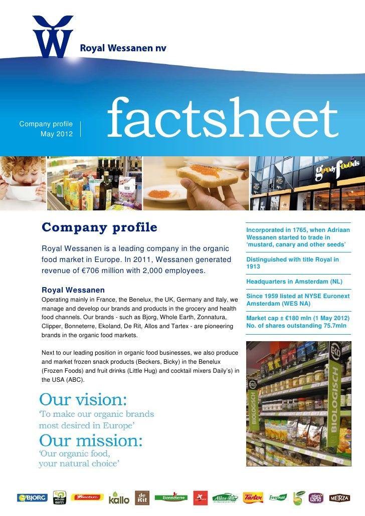 Company profile    May 2012                  factsheet      Company profile                                               ...