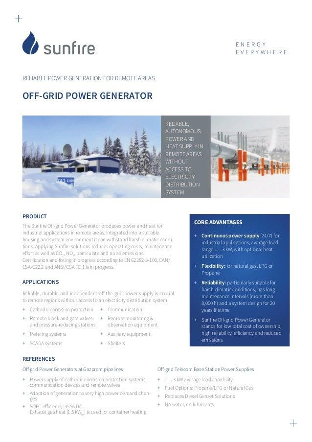 Factsheet off grid generator