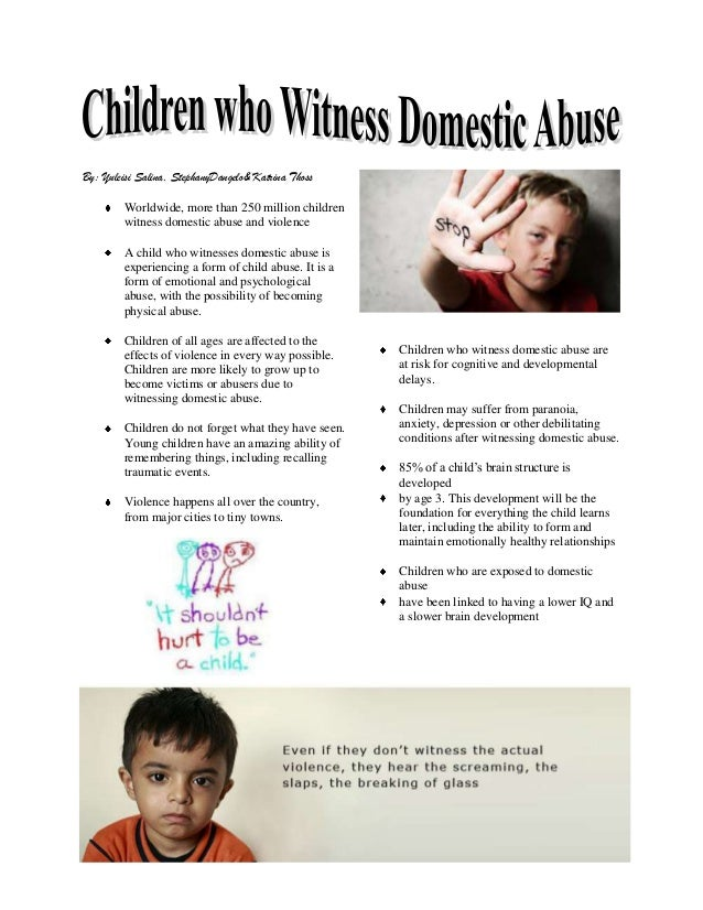 effects of domestic violence Domestic violence affects both partners, their children, other family members, friends, and colleagues domestic and dating violence can occur in any intimate relationship, including same-sex relationships and including by women towards men.