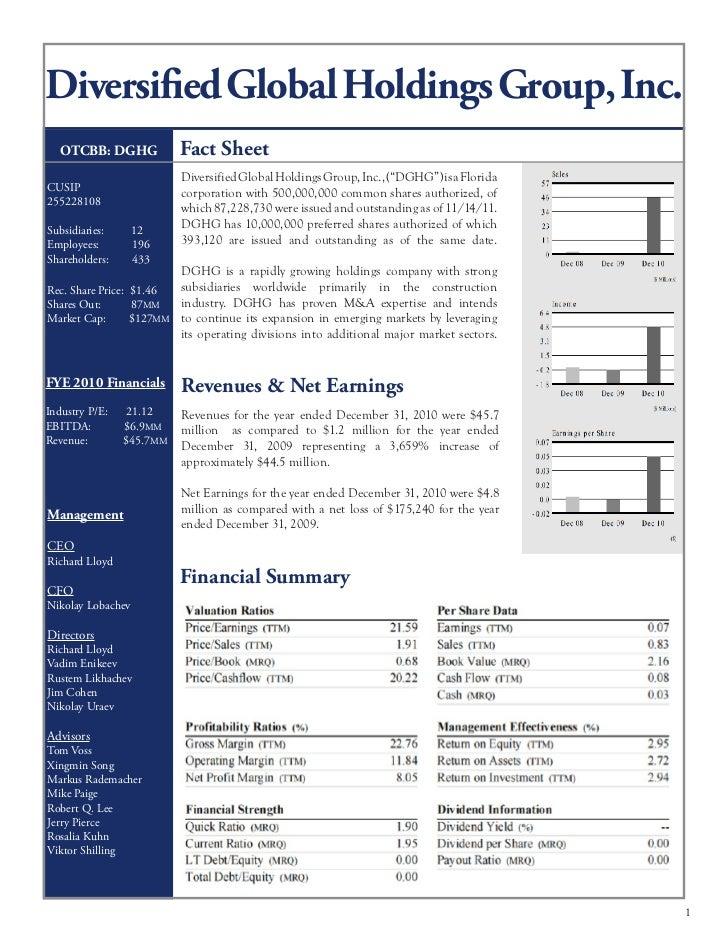 Diversified Global Holdings Group, Inc.   OTCBB: DGHG             Fact Sheet                           Diversified Global ...