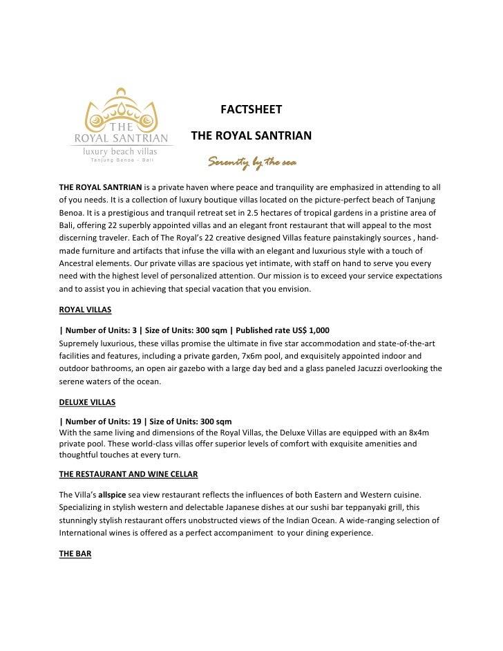 FACTSHEET                                     THE ROYAL SANTRIAN                                          Serenity by the ...