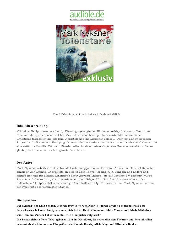 Das Hörbuch ist exklusiv bei audible.de erhältlich.    Inhaltsbeschreibung: Mit seiner Skulpturenserie »Family Planning« g...