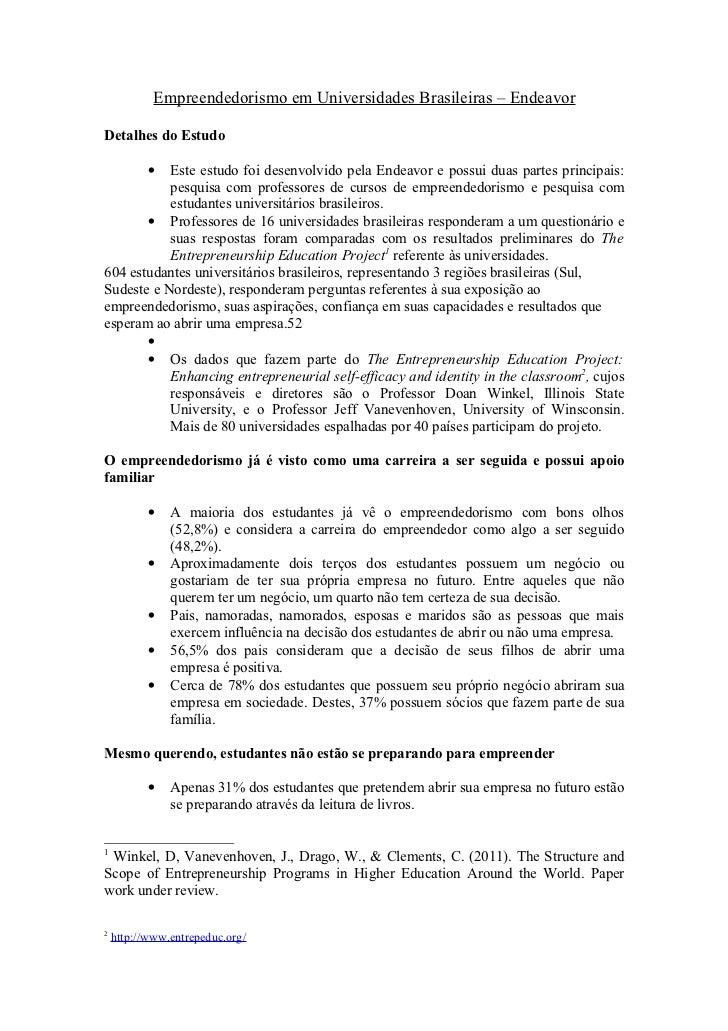Empreendedorismo em universidades brasileiras (pesquisa Endeavor)