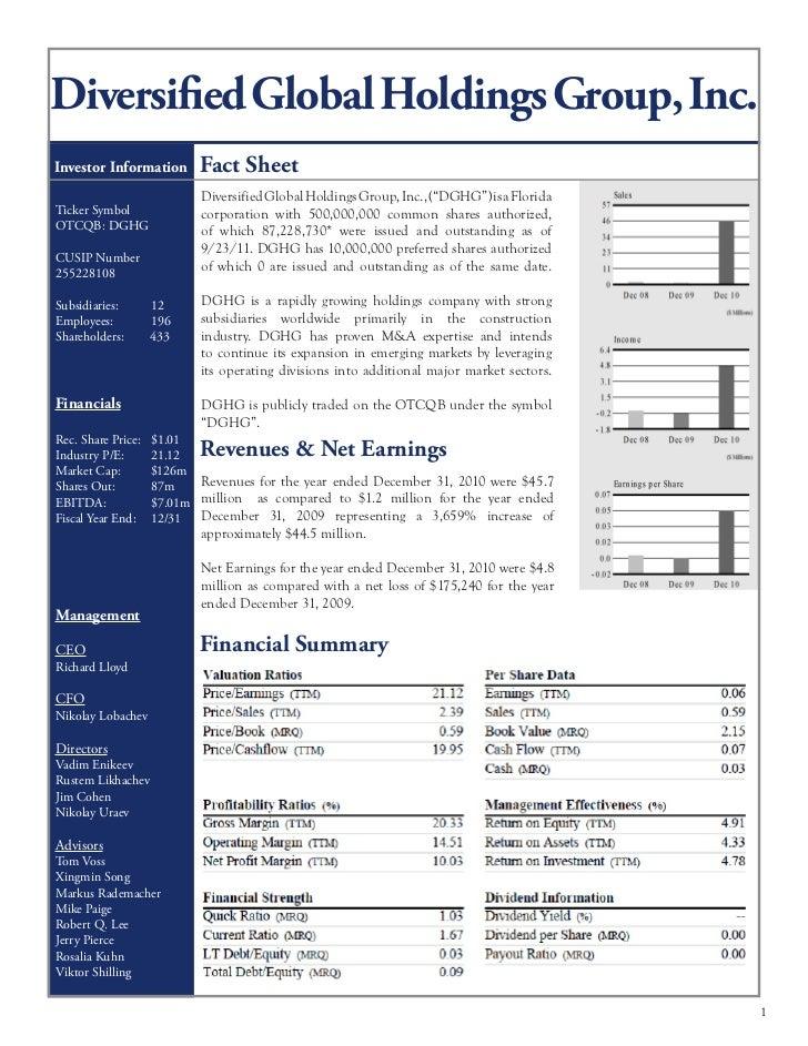 Diversified Global Holdings Group, Inc.Investor Information       Fact Sheet                           Diversified Global ...