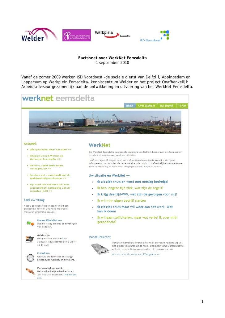 Factsheet over WerkNet Eemsdelta                                      1 september 2010   Vanaf de zomer 2009 werken ISD No...