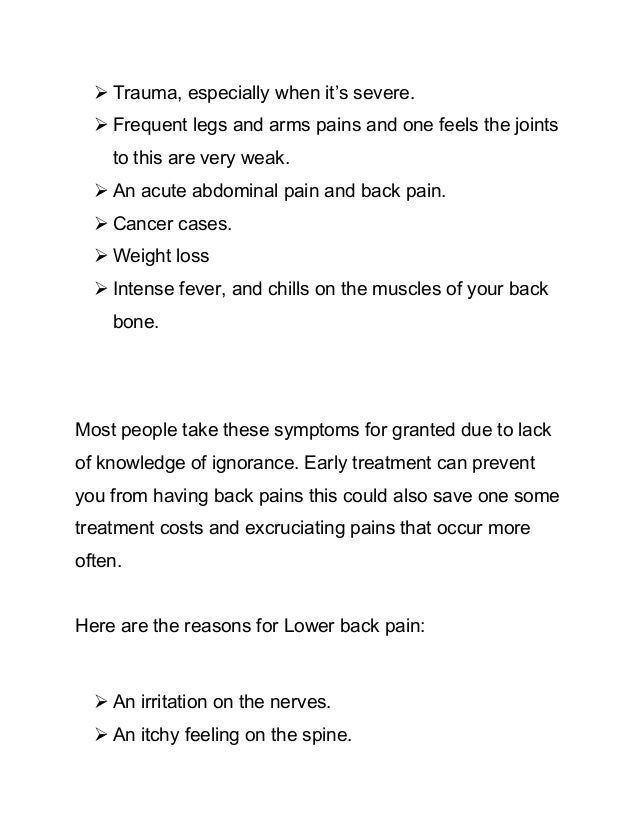 Facts On The Lower Back Pain