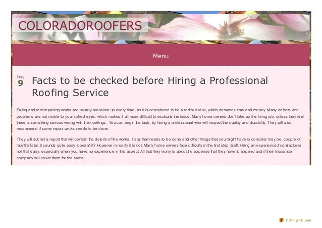 MenuFacts to be checked before Hiring a ProfessionalFacts to be checked before Hiring a ProfessionalRoofing ServiceRoofing...