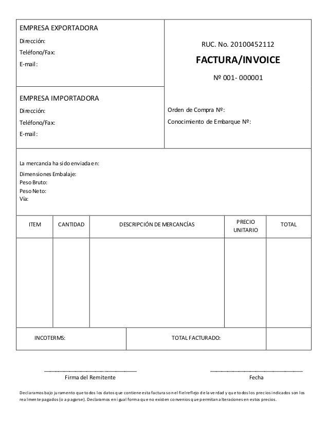 modelo de factura comercial commercial invoice