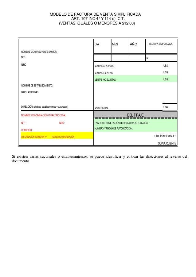 facturacion segun reformas código tributario el salvador
