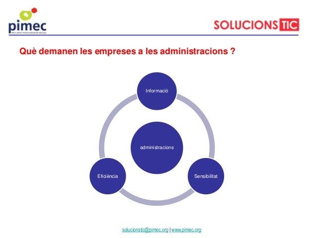 Què demanen les empreses a les administracions ? solucionstic@pimec.org | www.pimec.org administracions Informació Sensibi...