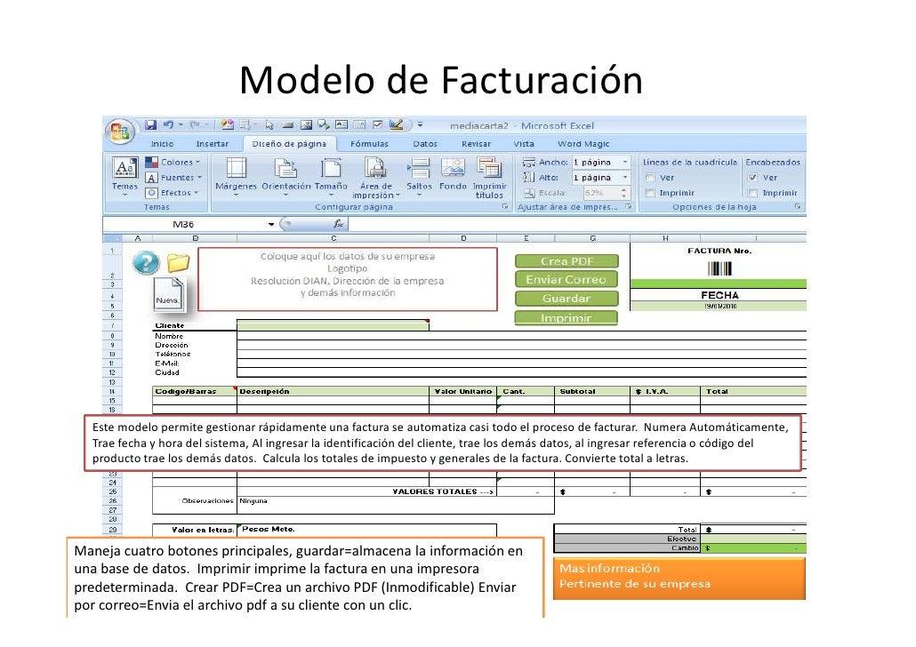 modelo de facturacion en excel