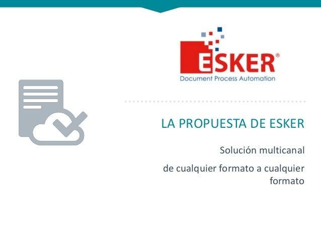 LA PROPUESTA DE ESKER Solución multicanal de cualquier formato a cualquier formato