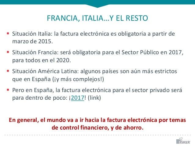 FRANCIA, ITALIA…Y EL RESTO  Situación Italia: la factura electrónica es obligatoria a partir de marzo de 2015.  Situació...