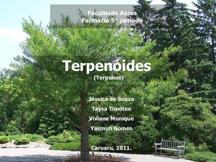 Faculdade Asces Farmácia 5° período Terpenóides  (Terpenos) Jéssica de Souza Taysa Timóteo Viviane Monique Yasmim Gomes Ca...