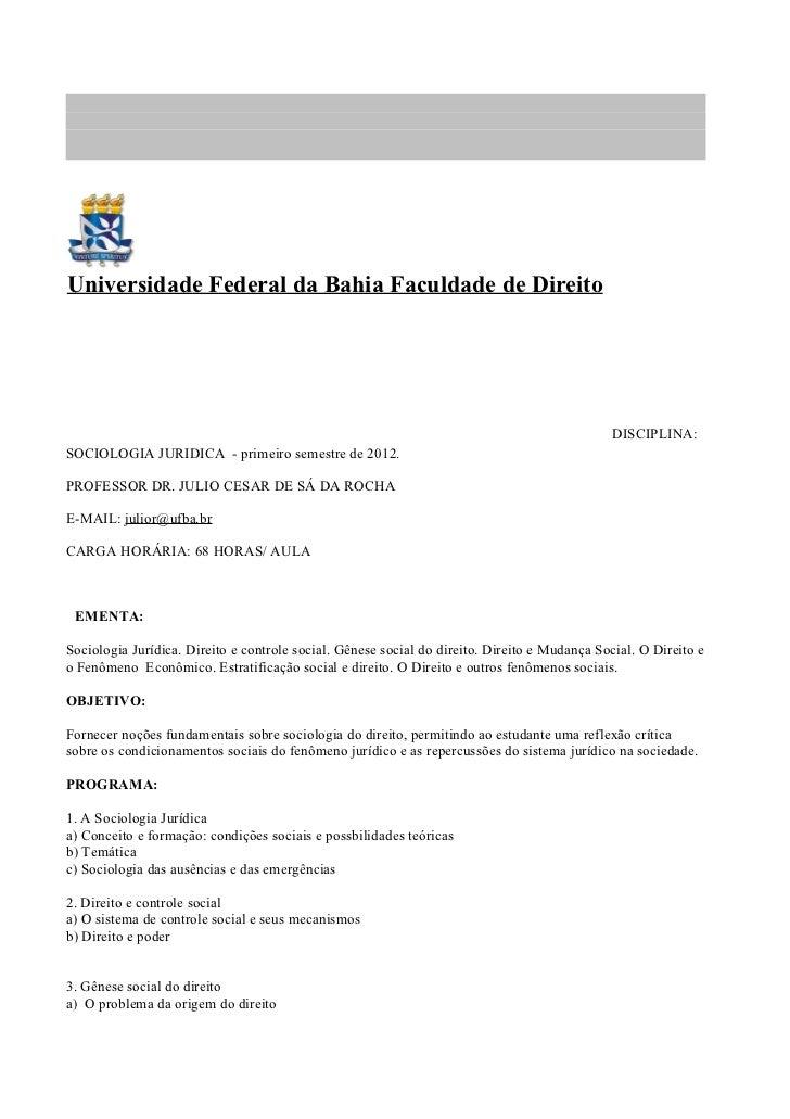 Universidade Federal da Bahia Faculdade de Direito                                                                        ...