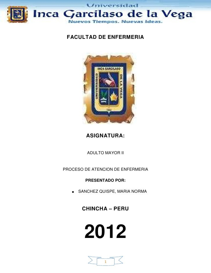FACULTAD DE ENFERMERIA         ASIGNATURA:         ADULTO MAYOR IIPROCESO DE ATENCION DE ENFERMERIA        PRESENTADO POR:...