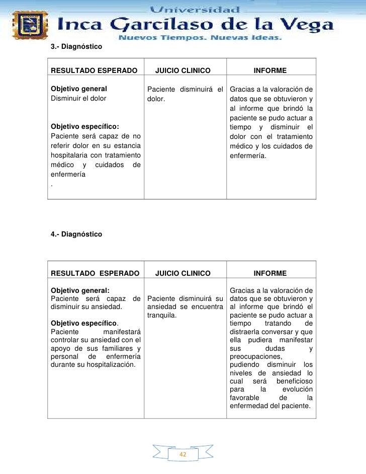 3.- DiagnósticoRESULTADO ESPERADO             JUICIO CLINICO                INFORMEObjetivo general             Paciente d...