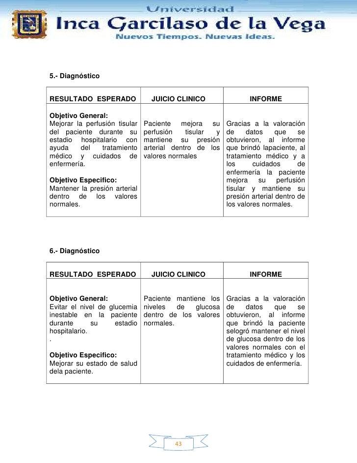 5.- DiagnósticoRESULTADO ESPERADO               JUICIO CLINICO                INFORMEObjetivo General:Mejorar la perfusión...
