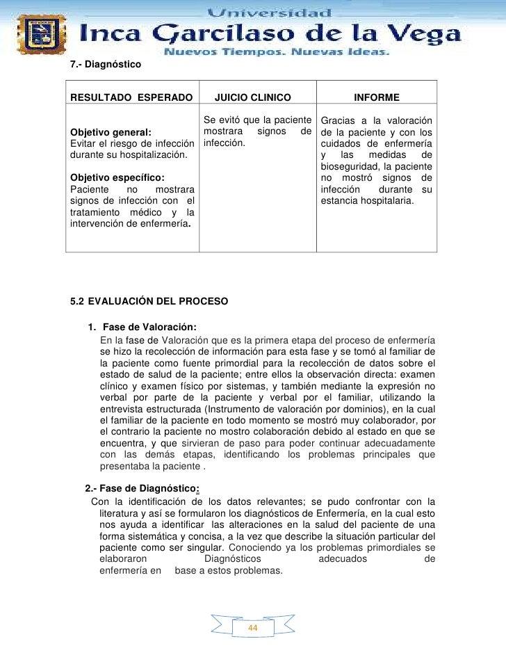 7.- DiagnósticoRESULTADO ESPERADO               JUICIO CLINICO                  INFORME                              Se ev...