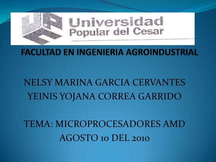 FACULTAD EN INGENIERIA AGROINDUSTRIAL<br />NELSY MARINA GARCIA CERVANTES<br />YEINIS YOJANA CORREA GARRIDO<br />TEMA: MICR...