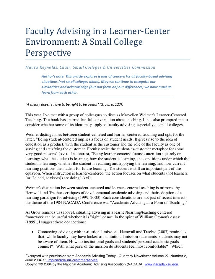 Faculty Advising in a Learner-Center Environment: A Small College Perspective <br />Maura Reynolds, Chair, Small Colleges ...