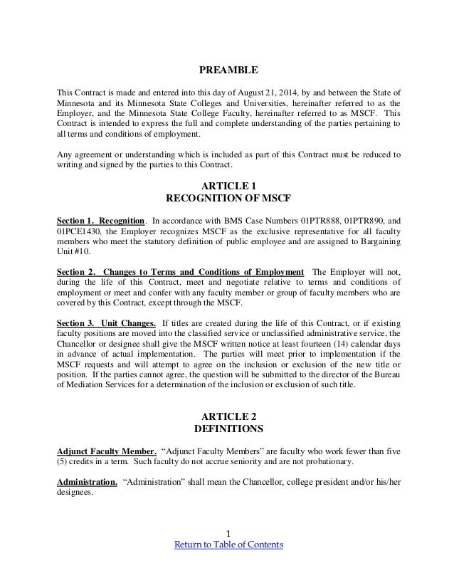1 Return to Table of Contents PREAMBLE This Contract is made and entered into this day of August 21, 2014, by and between ...