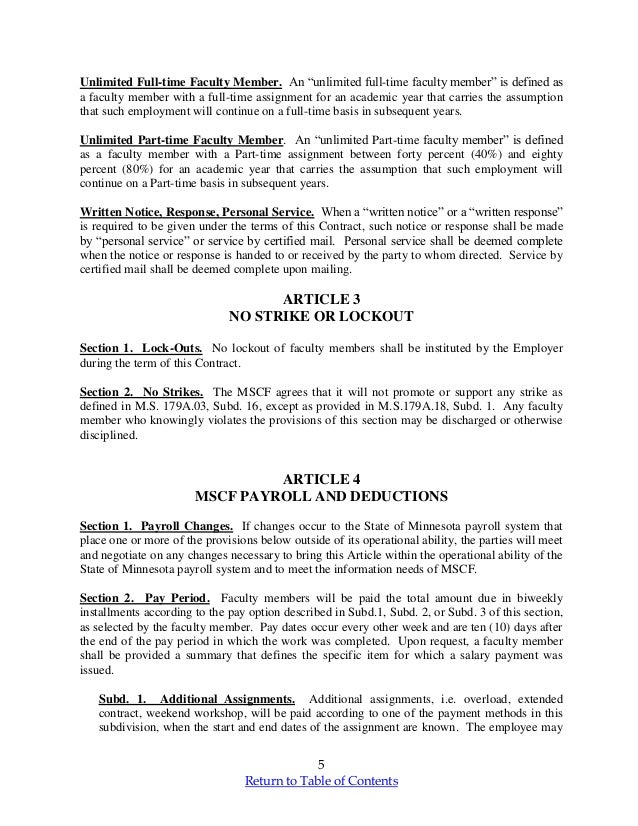 Minnesota Faculty Teaching Contract mscf final 20132015 – Personal Service Contract