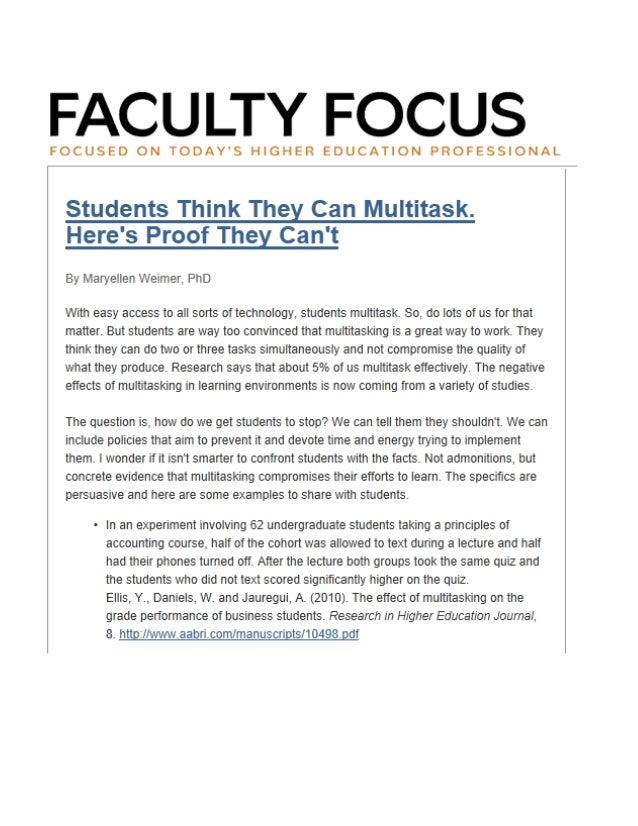 Multitasking in Higher Education