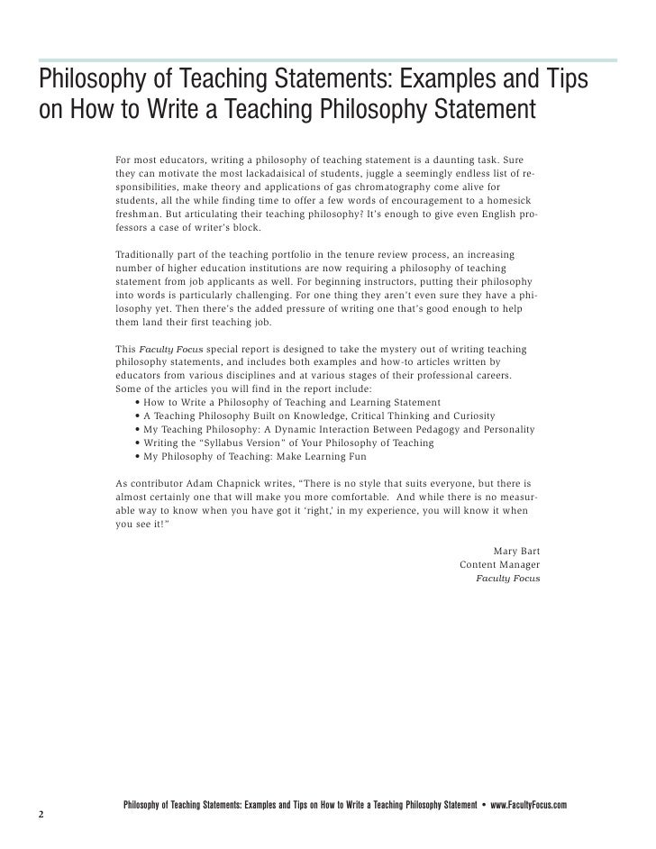 work philosophy statement examples