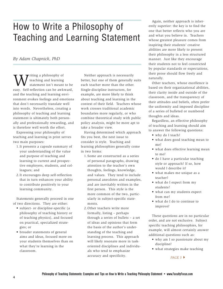 Guidance on Writing a Philosophy of Teaching Statement