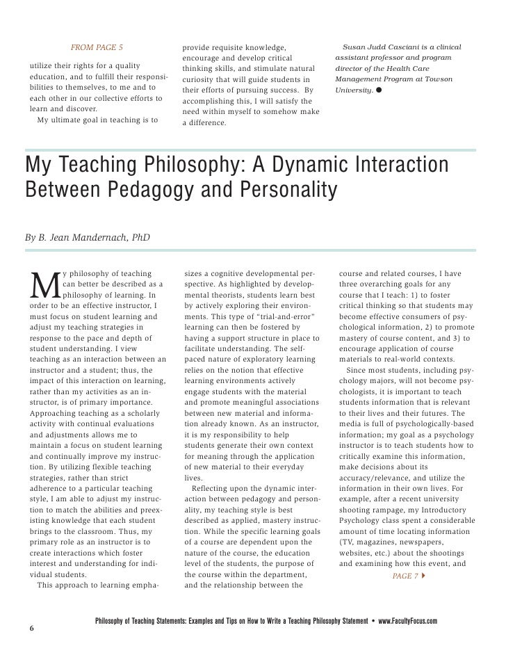 my philosophy statement essay What is a teaching philosophy statement a teaching philosophy statement is a narrative that includes: your conception of teaching and learning.