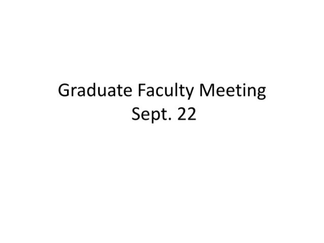Faculty meeting sept. 22
