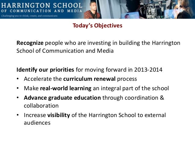 Harrington School Faculty Meeting, Sept 13, 2013 Today's Objectives Recognize people who are investing in building the Har...