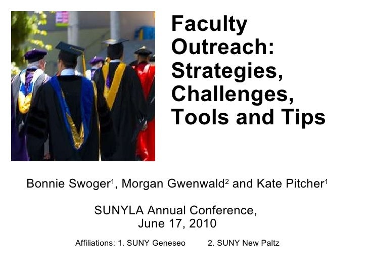 Faculty Outreach: Strategies, Challenges, Tools and Tips Bonnie Swoger 1 , Morgan Gwenwald 2  and Kate Pitcher 1 SUNYLA An...