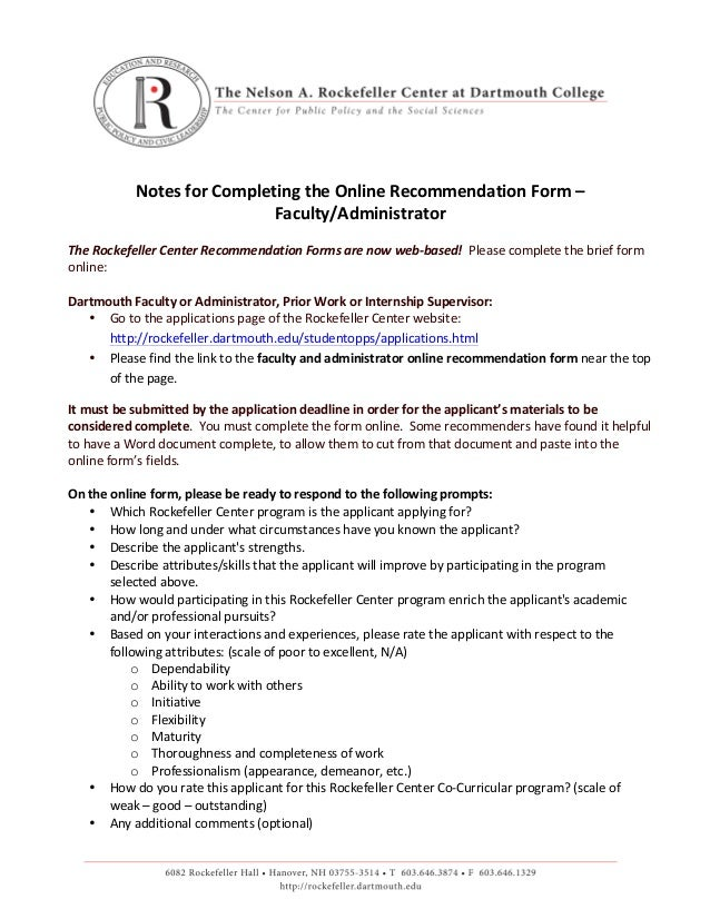 Notes	   for	   Completing	   the	   Online	   Recommendation	   Form	   –	   	    Faculty/Administrator	    	    The	  ...