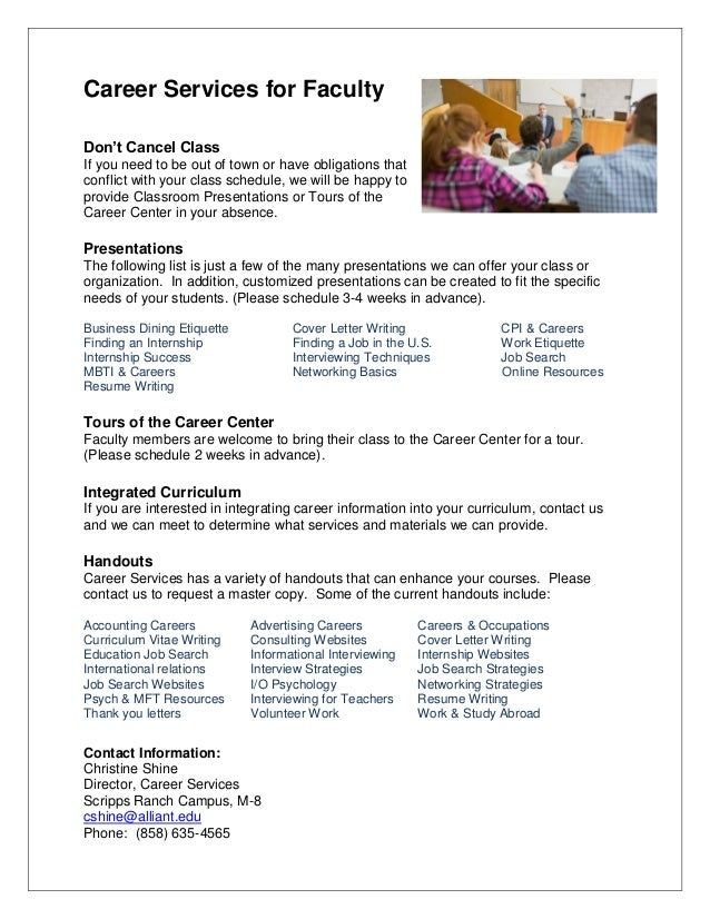 Career Services for Faculty