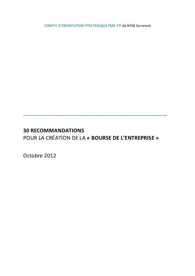 COMITE  D'ORIENTATION  STRATEGIQUE  PME-‐ETI  de  NYSE  Euronext                      ...