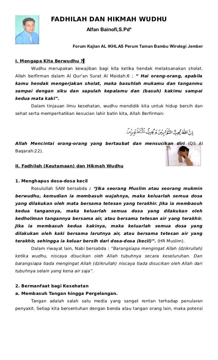 FADHILAH DAN HIKMAH WUDHU                                Alfan Bainofi,S.Pd*                          Forum Kajian AL IKHL...