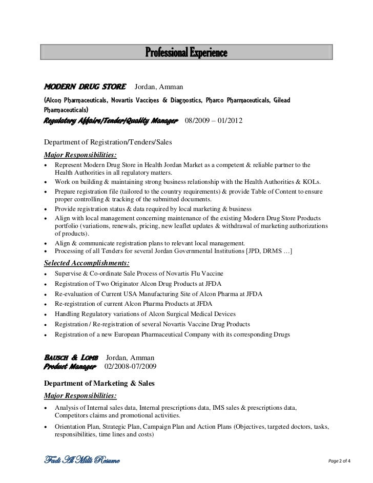 Fadi resume for Pharmaceutical regulatory affairs resume sample