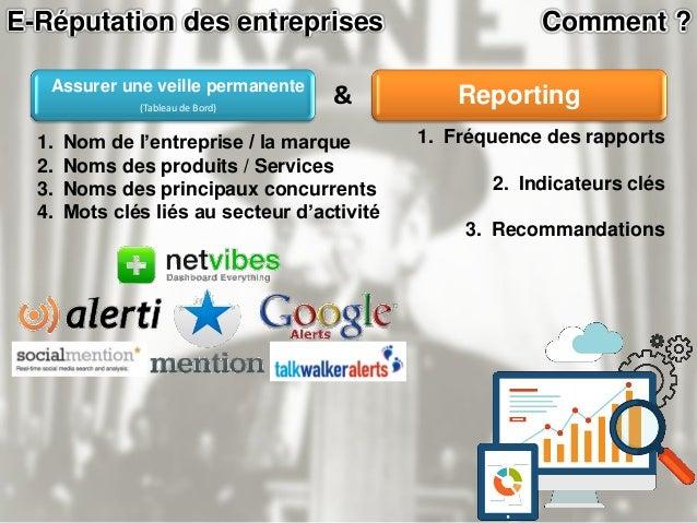 E-Réputation des entreprises Comment ? Auditer Cartographie 2.0 Mettre en place une stratégie de E-réputation Assurer une ...