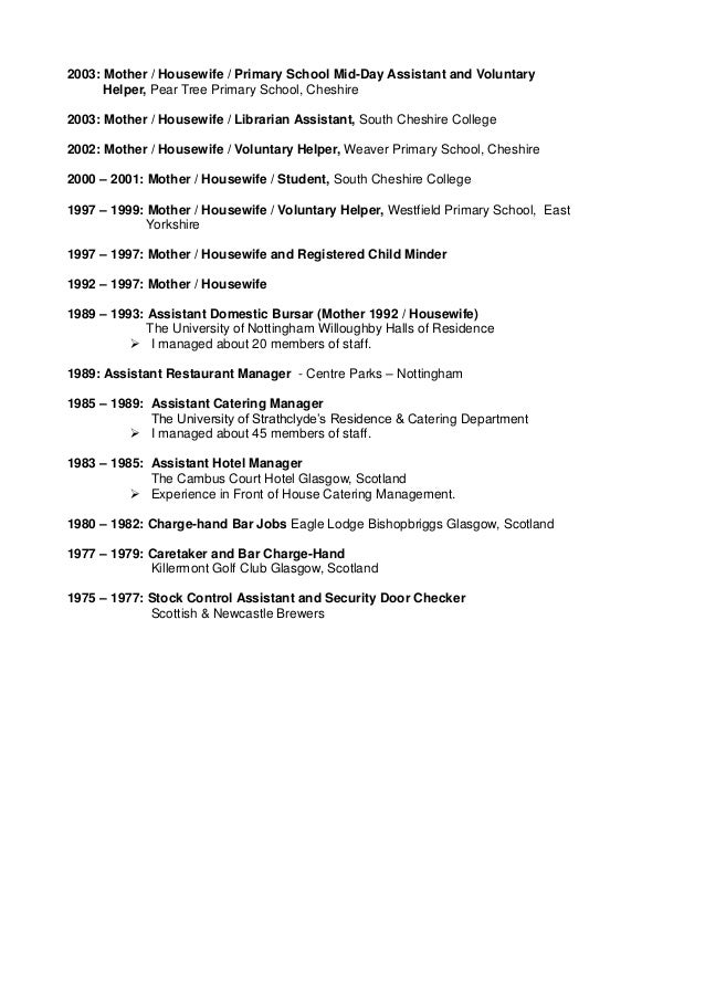 job resume examples resumes for moms returning to work stay at – Housewife Resume Examples